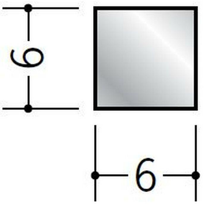 角棒 アルミ 角棒6×6 シルバー 2m(-3mm、+5mm)  58043