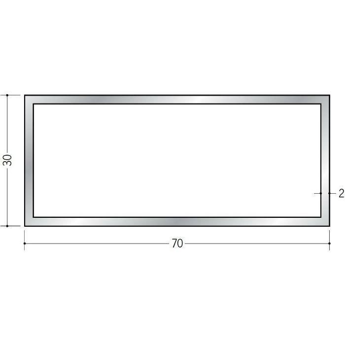 角パイプ アルミ 角パイプ2×30×70 シルバー 2.5m(-3mm、+5mm)  56335