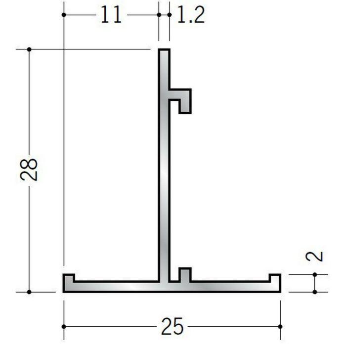 Tバー アルミ TH25×28 シルバー 3m  53051