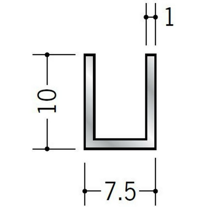 チャンネル アルミ チャンネル1×7.5×10 シルバー 2m(-3mm、+5mm)  58261