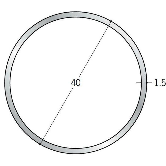 丸パイプ アルミ 丸パイプ40×1.5 シルバー 1.82m  57999