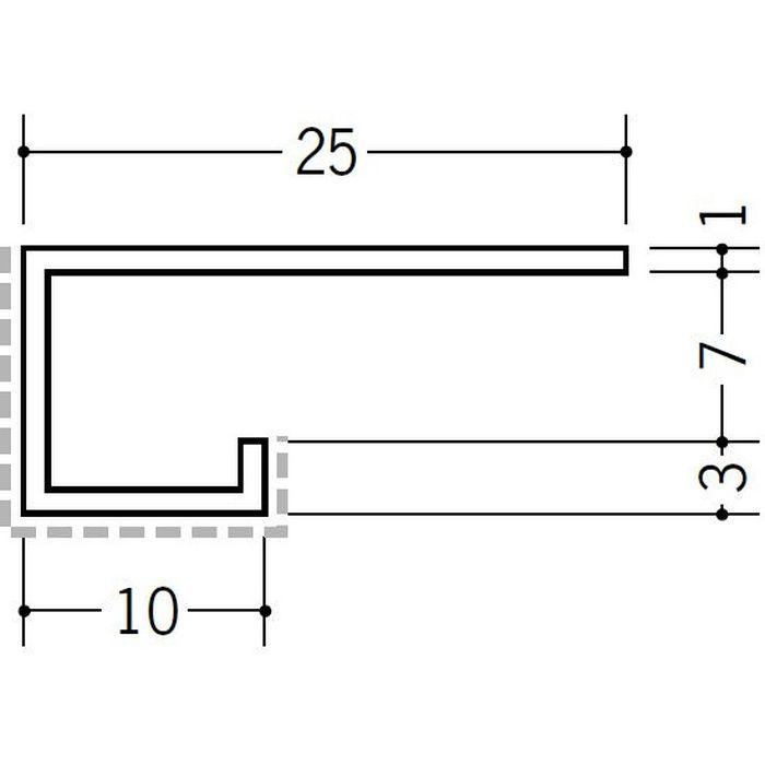 アクリルペイント見切縁 アルミ A型7APカラー バニラホワイト 3m  29070-1