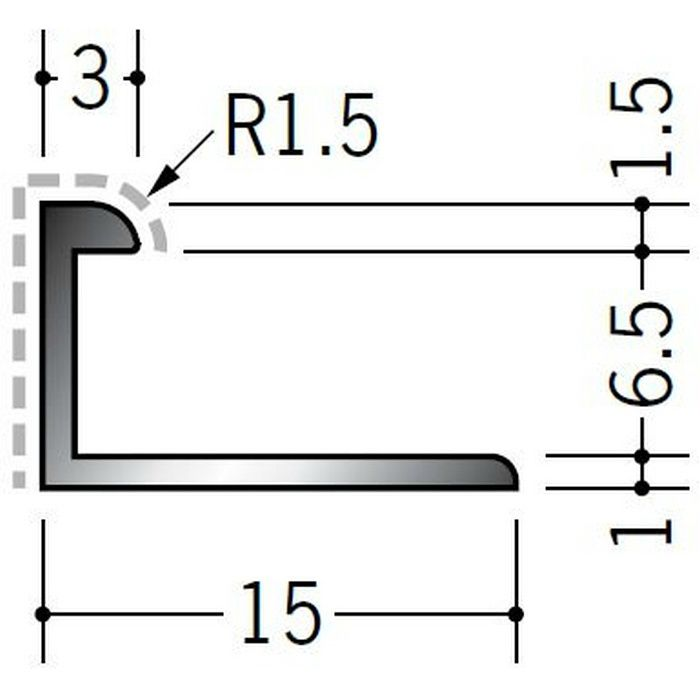 アクリルペイントジョイナー コ型 アルミ 6BC カラー バニラホワイト 2.73m  54252-1
