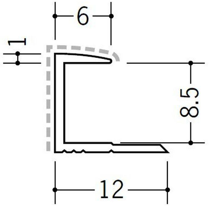 アクリルペイントジョイナー コ型 アルミ 8CA カラー バニラホワイト 2.73m  54204-1