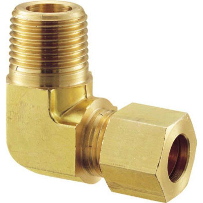 GL28X18B 黄銅製ハーフエルボ Φ8×1/8B 銅管用 くい込み継手