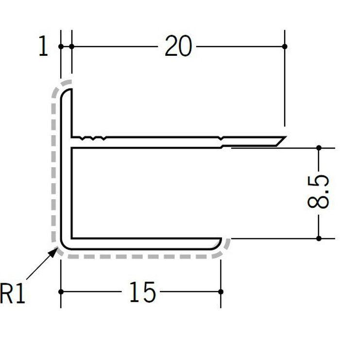 アクリルペイントジョイナー 出隅 アルミ 8AD カラー バニラホワイト 2.73m  50124-1