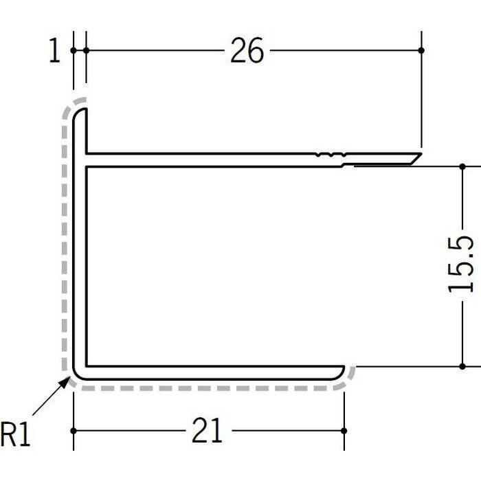アクリルペイントジョイナー 出隅 アルミ 15AD カラー カスタムブラック 2.73m  50128-2