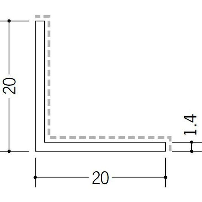 アクリルペイント アングル 入隅用 アルミ カラーL1.4×20×20入隅用 バニラホワイト 3m  29096-1