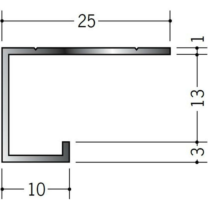 ブラック&ホワイトメタックス見切縁 アルミ A型12.5BWカラー ホワイトアルマイト1 3m  51119-1