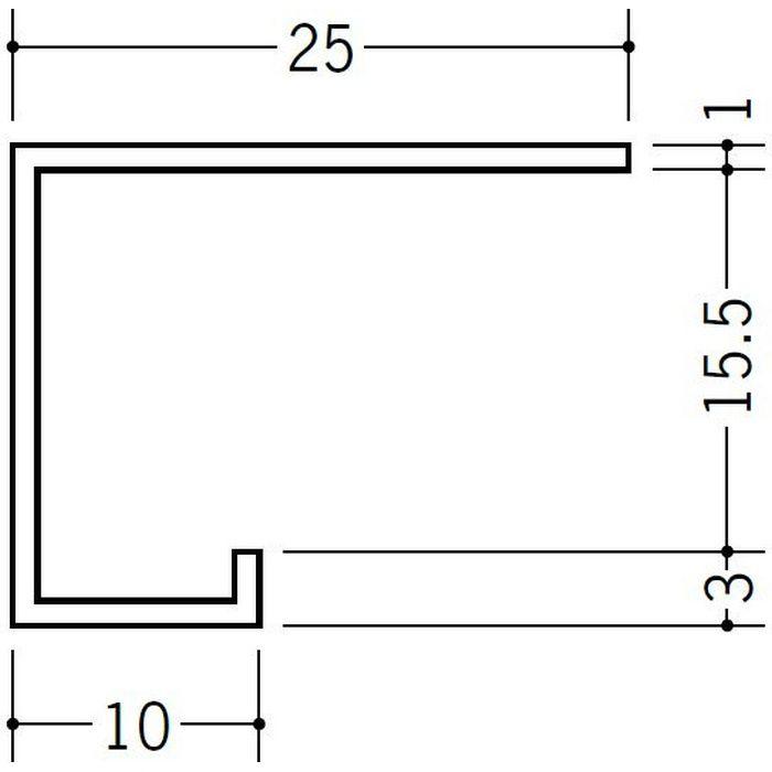ブラック&ホワイトメタックス見切縁 アルミ A型16BWカラー ホワイトアルマイト1 3m  51120-1