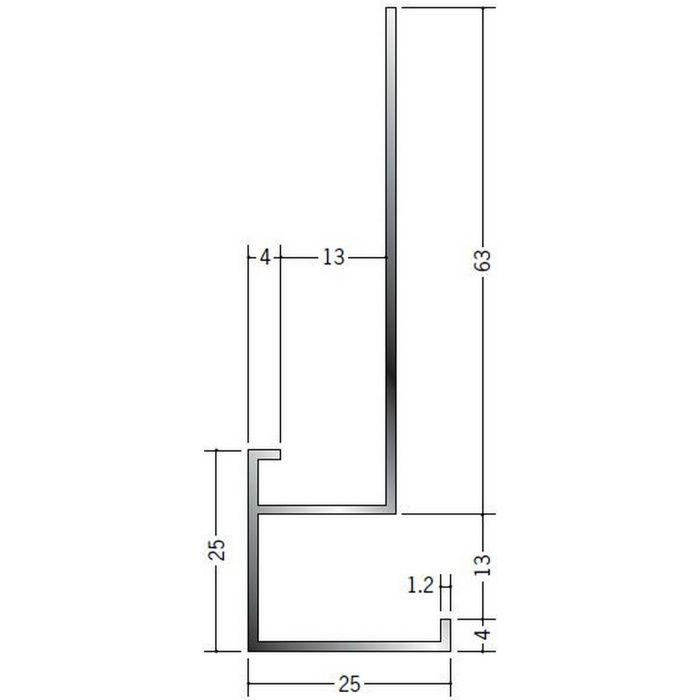 ブラック&ホワイトメタックス見切縁 アルミ D型17BWカラー ホワイトアルマイト1 3m  52185-1