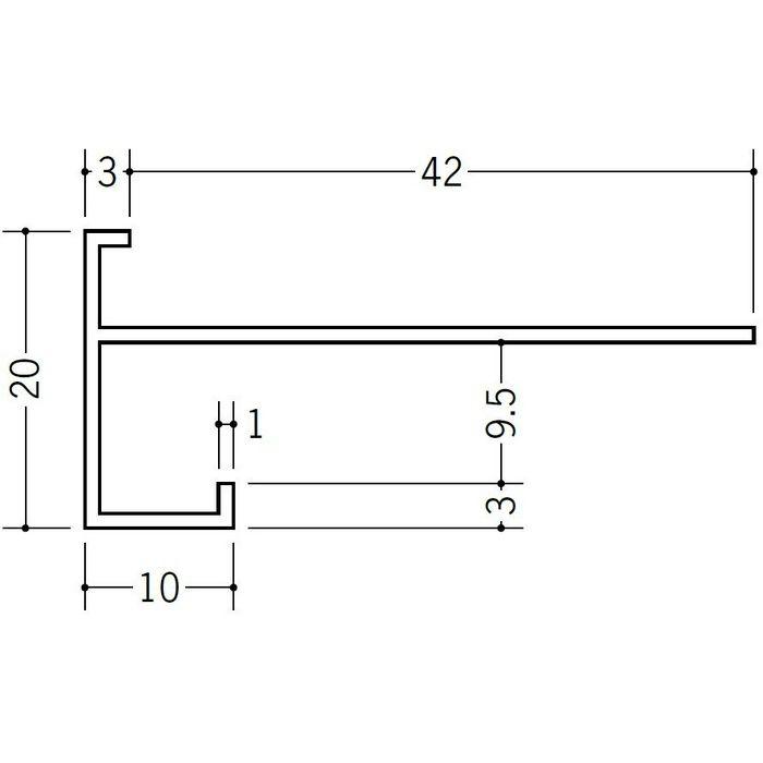 ブラック&ホワイトメタックス見切縁 アルミ D型31.5(岩綿板用)BWカラー ホワイトアルマイト4 3m  29155