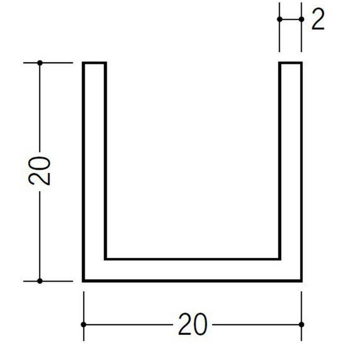 ブラック&ホワイトメタックス 平角・角パイプ・チャンネル アルミ カラーチャンネル20×20BW 電解ブラック 2m  28082-2