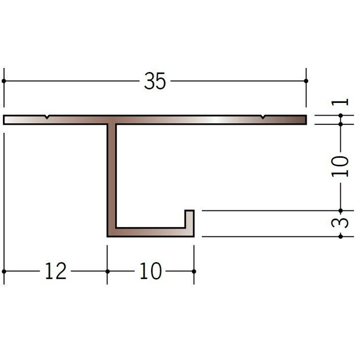 ブロンズメタックス 見切縁 アルミ CS-10BRカラー 電解ステンカラー 3m  28006-1