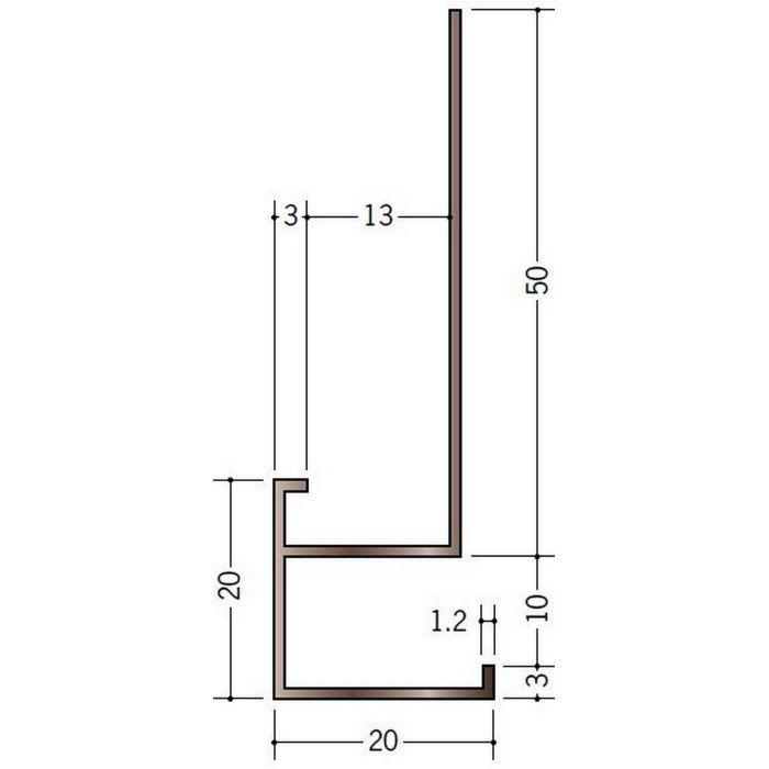 ブロンズメタックス 見切縁 アルミ D型28BRカラー 電解ライトブロンズ 3m  28011-2
