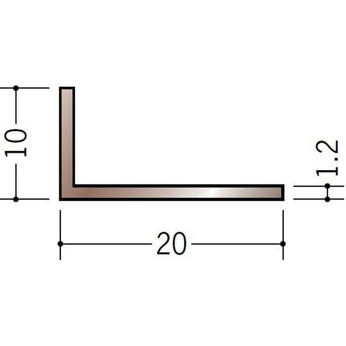 ブロンズメタックス アングル アルミ カラーL1.2×10×20BR 電解ステンカラー 3m  29101-1