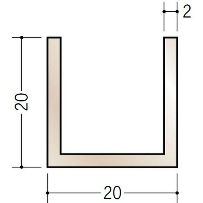 ブロンズメタックス 平角・角パイプ・チャンネル アルミ カラーチャンネル20×20BR 電解ライトブロンズ 2m  29132-2