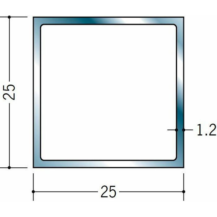 角棒・角パイプ・丸パイプ ステンレス 角パイプ25x25 H.L 2.5m  20059