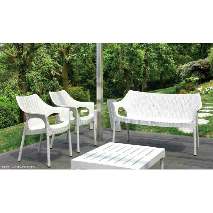 ガーデンファニチャー プラスチック オリンピア アームチェアー スキャブ SCB-AC05W 33159800 ホワイト