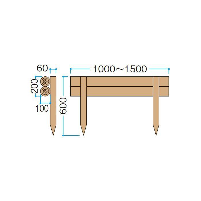 サポートウォール 組木 二段組木(丸) KBM-20K 56327200 クレオソート 3個/組