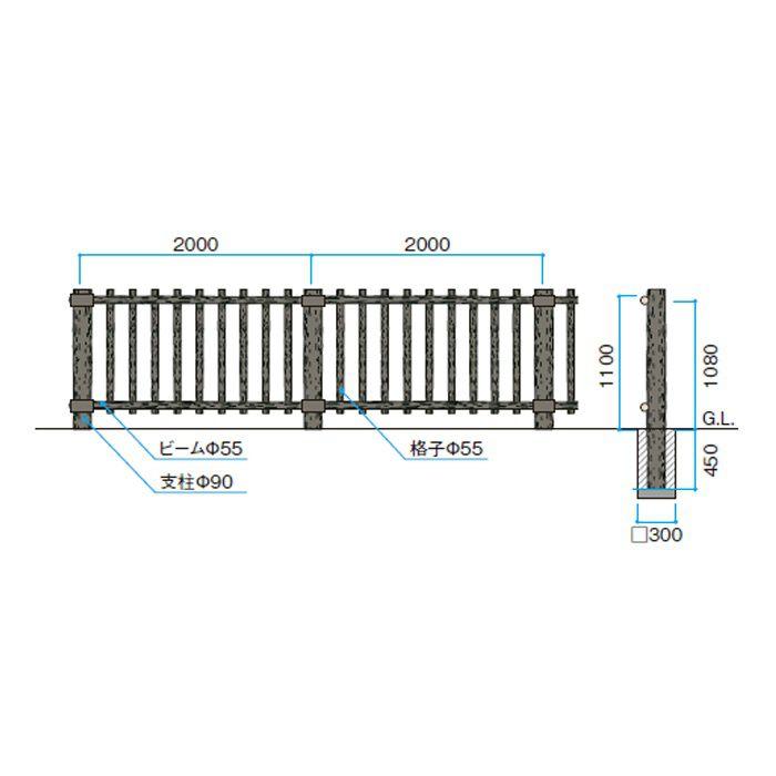 ワンダーウッド 縦格子柵自在追加型 サポートウォール NAE-VF11FT 54653400