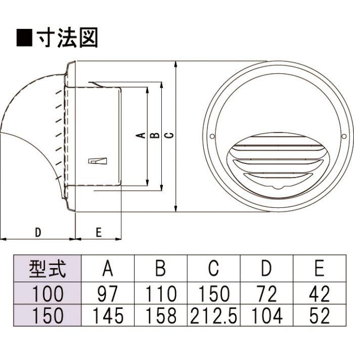 力王 換気材 ステン丸型フードガラリ アミ無 MGFN100