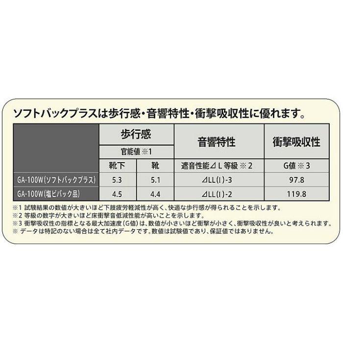 GA1701W-FB タイルカーペット GA-100 ソフトバックプラス GA-100W シルキーライン 4枚/セット