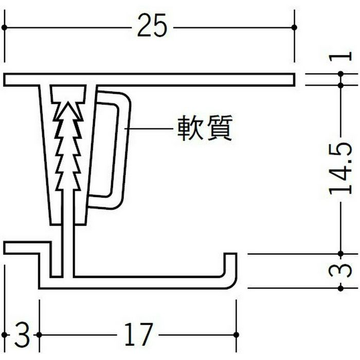 湯らっくす 不燃用開口見切 アルミ製/焼付塗装 レモンイエロー 3m 40021-8