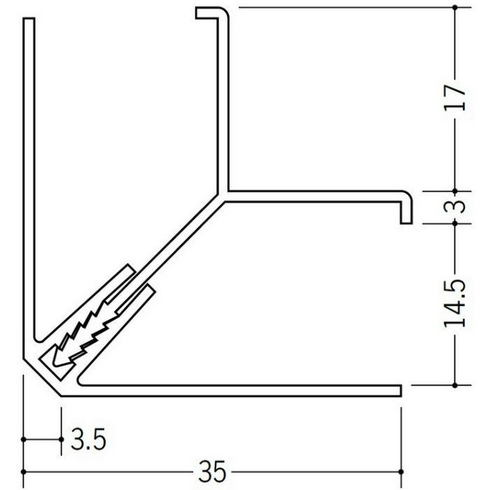 湯らっくす 不燃用入隅 アルミ製/焼付塗装 レモンイエロー 3m 40024-08