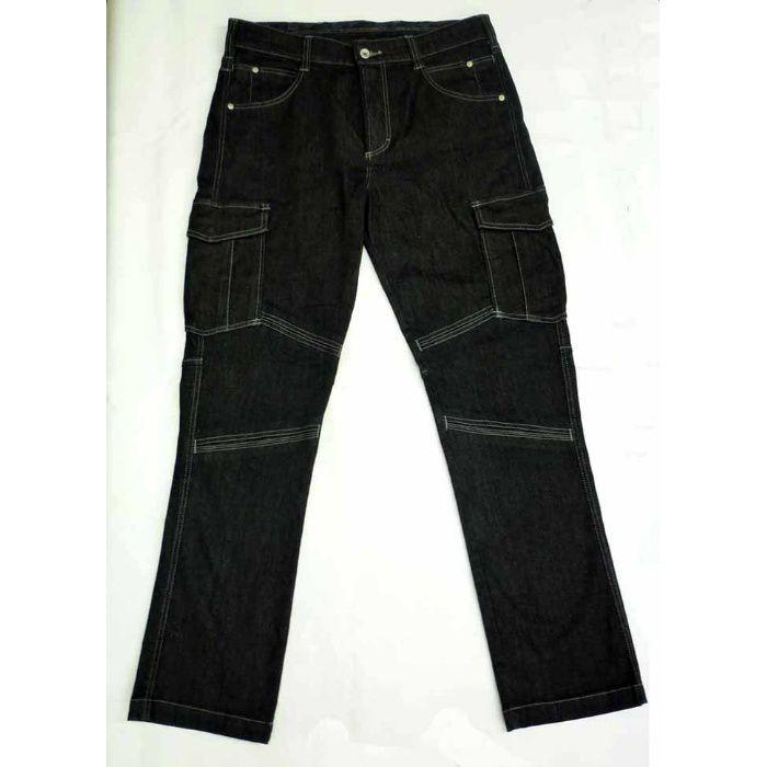 GKW-1713 ブラック M ノータックカーゴパンツ ストレッチ素材