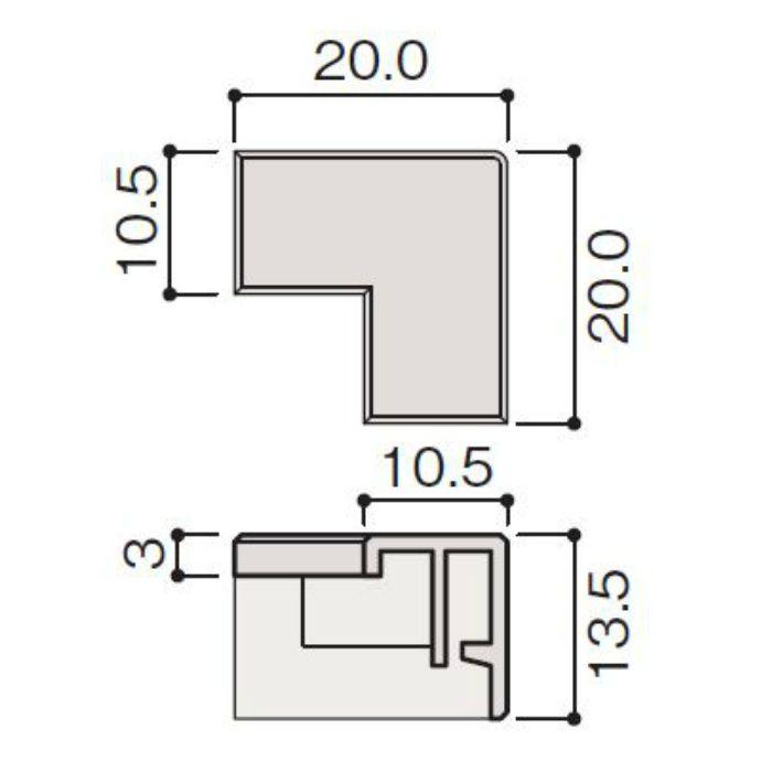 WF79-BP1-F4 不燃壁材グラビオエッジ専用施工部材 樹脂J型見切コーナーカバー ホワイト