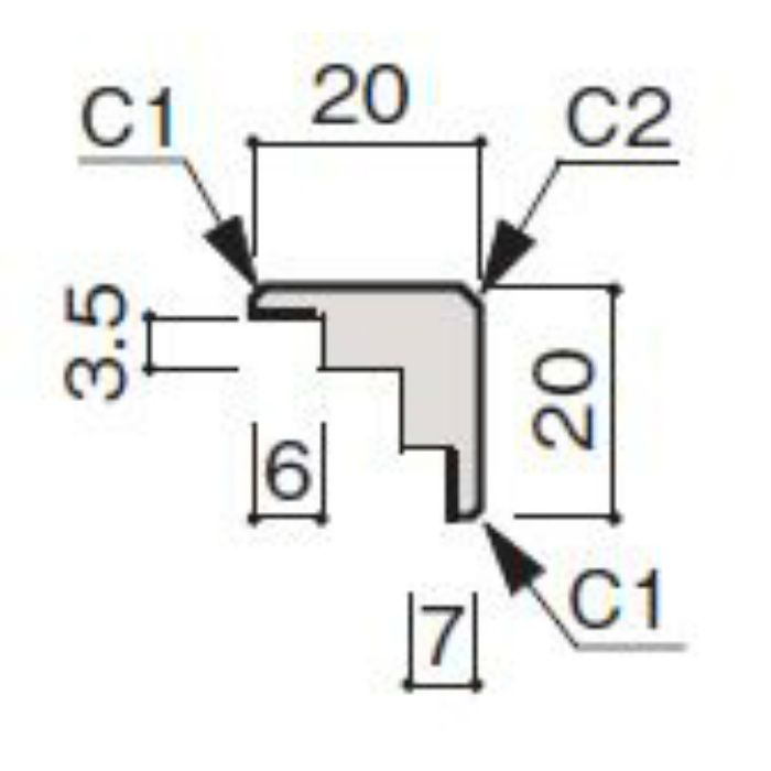 WF63-B173-41 グラビオ専用施工部材 木目柄(3mm) UB73用出隅