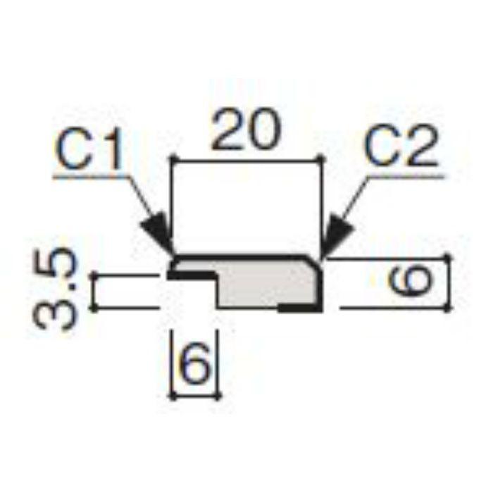 WF53-B364-42 グラビオ専用施工部材 木目柄(3mm) LA64用見切(入隅兼用)