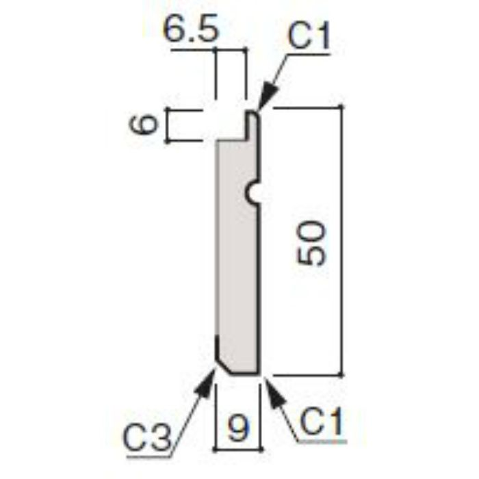 WF66-B875-92 グラビオ専用施工部材 UB木目柄(6mm) UB75用巾木