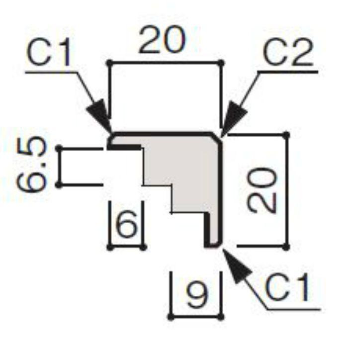 WF66-B174-41 グラビオ専用施工部材 UB木目柄(6mm) UB74用出隅