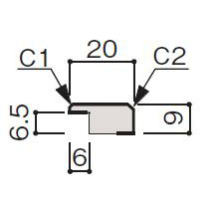 WF66-B375-42 グラビオ専用施工部材 UB木目柄(6mm) UB75用見切(入隅兼用)