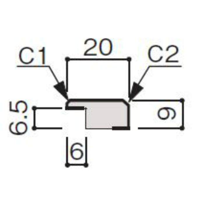WF66-B338-42 グラビオ専用施工部材 UB木目柄(6mm) UB38用見切(入隅兼用)
