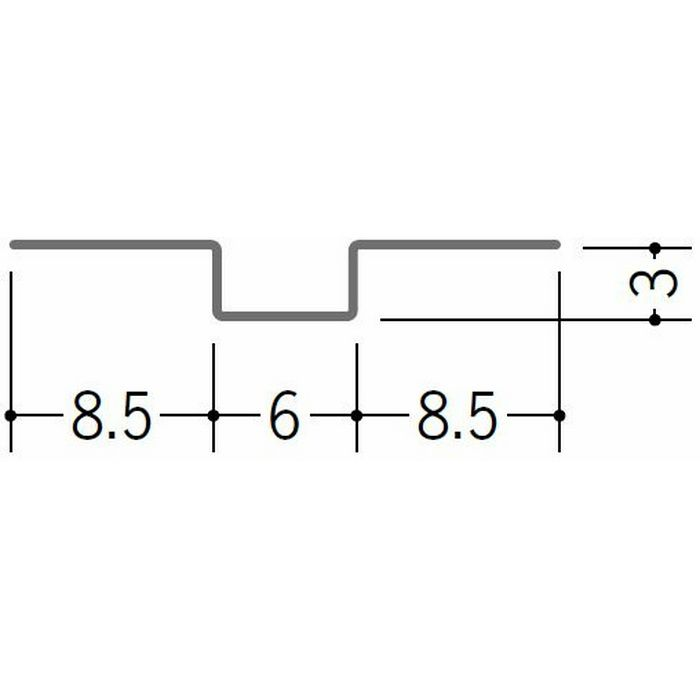 ハット型ジョイナー 金属折曲げ 目地ジョイナー # 400程度 1.82m 63168
