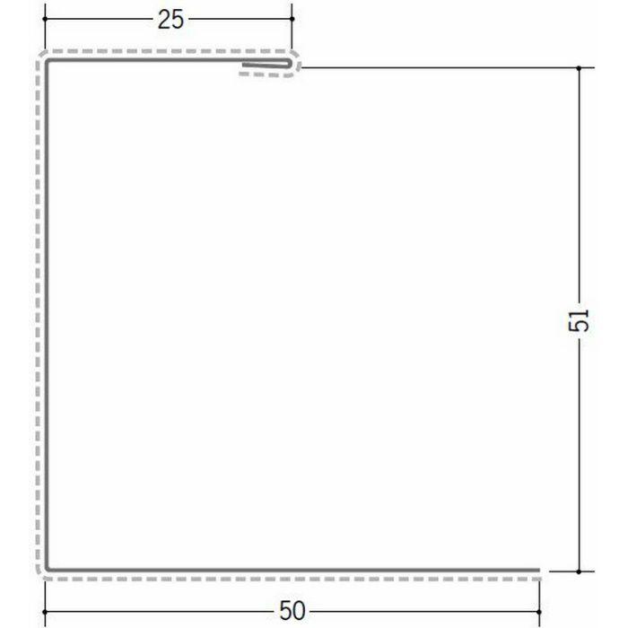 断熱材用ジョイナー 金属折曲げ カラー鉄板コ型51 クリーム 1.82m 63033-2