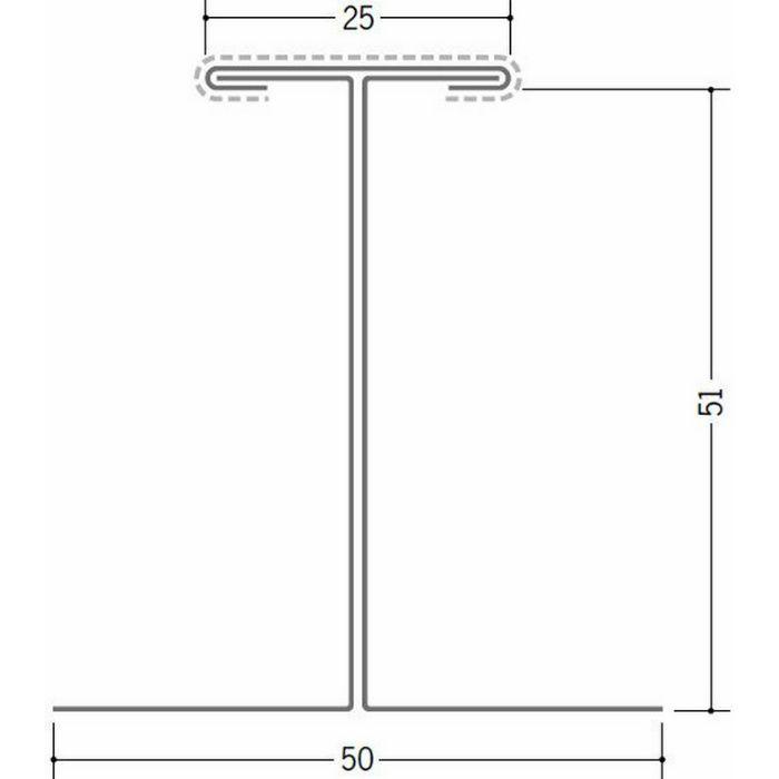断熱材用ジョイナー 金属折曲げ カラー鉄板H型51 ホワイト 1.82m 63032-1
