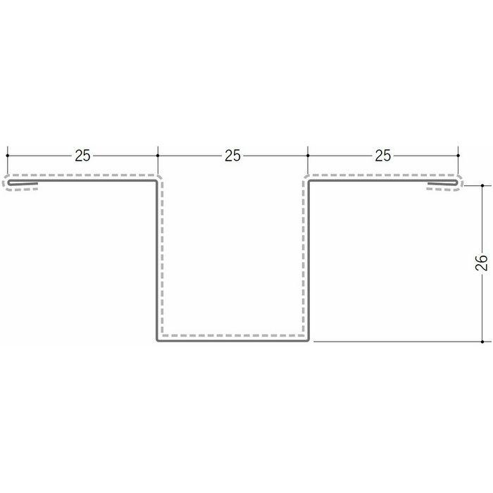 断熱材用ジョイナー 金属折曲げ カラー鉄板ハット型26 クリーム 1.82m 63012-2