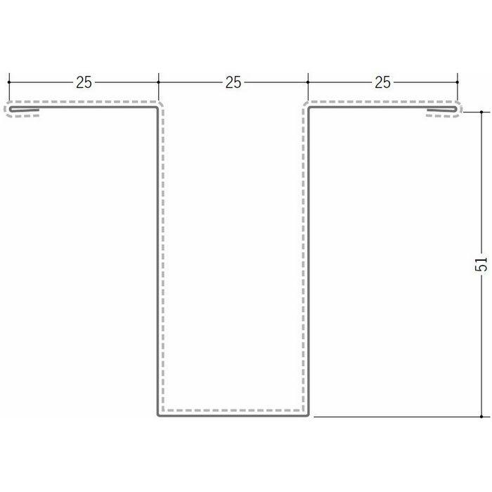 断熱材用ジョイナー 金属折曲げ カラー鉄板ハット型51 ホワイト 1.82m 63013-1