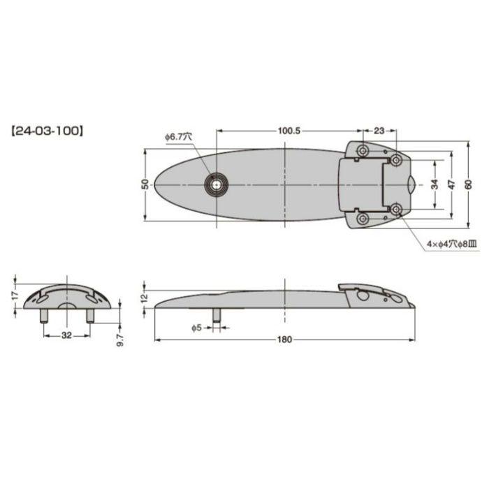 テーブル連結部品 24-03型 曲線形状タイプ 24-03-100 シルバー