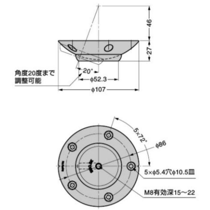 テーブル脚角度調整コネクター 06-11-100-0 樹脂製 ブラック