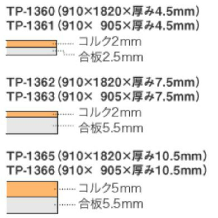 トッパーコルク TP-1365 トッパープライ(壁・天井用パネル) 無塗装 910mm × 1820mm