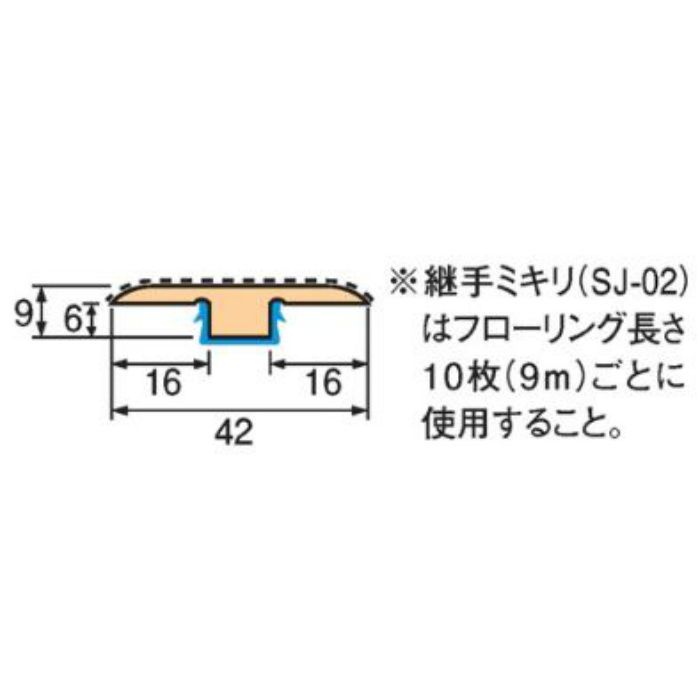 トッパーコルク コルク柄合成継手ミキリSJ-21 スピード施工コルクフローリング専用納め部材