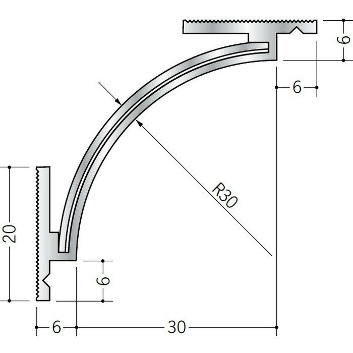 クリーンルーム用ボーダー アルミ CR-1・AD-2三方出隅(天井) シルバー 1辺あたり250mm(働き寸法) 55186