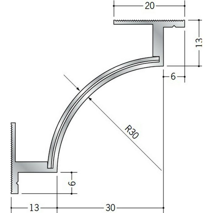 クリーンルーム用ボーダー アルミ CPB-3・CPB-7三方出隅(天井) シルバー 1辺あたり250mm(働き寸法) 55195
