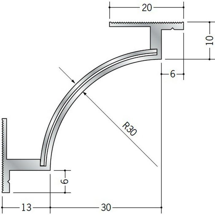 クリーンルーム用ボーダー アルミ CPB-2直角出隅(天井9mm) シルバー 1辺あたり250mm(働き寸法) 57075