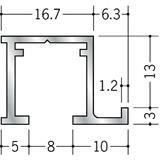 ピクチャーレール ビス止めタイプ アルミ PR-212 ホワイトアルマイト 3m 57012-2